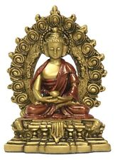 Small Nepali Buddha Seated on Throne Buddhism Gold Red O-067GR
