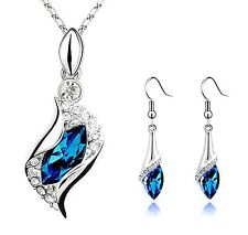 BLUE TWIST SET Mothers Day Gift Necklace Pendant w Authentic SWAROVSKI CRYSTAL