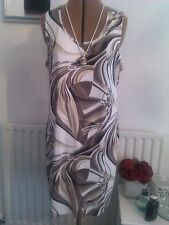 BNWT Roman Originals size 16 gorgeous mocca multi stretch dress fully lined