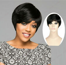 Sexy Women's Fashion Short Black Wigs Straight Heat Resistant Hair Synthetic Wig