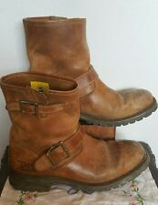 CAT Caterpillar Brown/tan Biker Leather mens Boots Size 9 UK