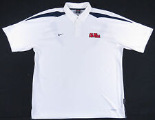 OLE MISS REBELS NIKE SPHERE DRY WHITE POLO SHIRT NCAA MISSISSIPPI MENS L EUC