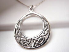 Celtic Weave Circle in Circle Necklace 925 Sterling Silver Corona Sun Jewelry
