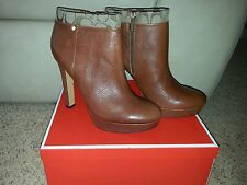 NIB Coach Casey Safari Platform Leather Ankle Boots 9.5 Ginger Khaki Brown