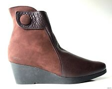 new $475 ARCHE 'Noomy' dark brown leather zipper WEDGE ANKLE BOOTS 42 11 - SOFT