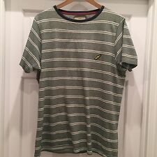 Men's Large BROOKHAVEN Green and White Stripe T-Shirt 100% Cotton Ringer