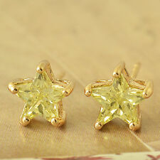 Fashion Green  Crystal Yellow Gold Filled Cute small Star Womens Stud Earring