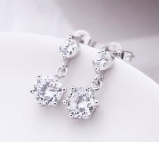 classic hanging diamond stud style crystal earrings w/ 925 sterling silver backs