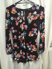 NWT Sportsgirl  Longsleeve Shorts Romper Jumpsuit Size 6 Black  With Floral