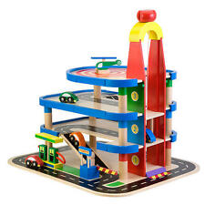 Kids 4 Level Parking Garage 4 Cars Helicopter Pad Elevator Gas Pump Wooden Toy
