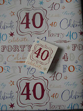 2 SHEETS OF THICK GLOSSY 40TH BIRTHDAY WRAPPING PAPER WITH MATCHING GIFT TAG