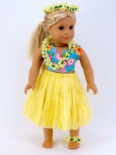"Yellow Hawaiian outfit 18"" doll clothes fits American Girl AG"