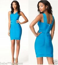 NWT bebe blue multi strap mesh inset cutout bodycon bandage top dress XS 0 2