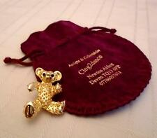 BROOCH  VINTAGE VERY SWEET TEDDY BEAR 24CT GOLD PLATED - GORGEOUS COLOURS