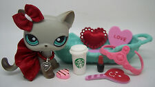 LITTLEST PET SHOP RARE GRAY EGYPTIAN KITTY #391 VALENTINE BOW SKIRT ACCESSORIES