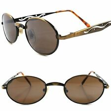 Old Vintage Stock Bronze Brown Unique 60s 70s Mens Small Metal Oval Sunglasse