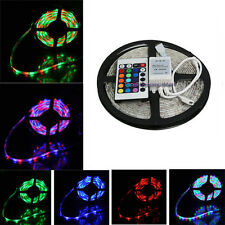 Flexible SMD 3528 5M RGB Colorful LED Strip Light 12V Car Tape + 24 Key Remote