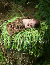 Newborn/Baby Green Fringe Blanket Photography Prop