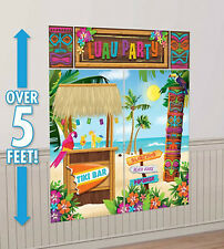 TIKI Scene Setter LUAU party wall decor kit 5' tropical oasis PALM TREES beach