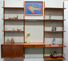 Danish Modern Style Wall Unit - 3 Bay - w/ Cabinet and Desk - Teak color