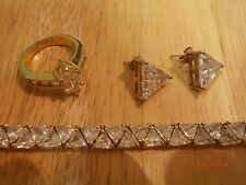 Beautiful GP 925 Sterling Silver Cubic Zirconia Bracele, Earrings And Ring Set