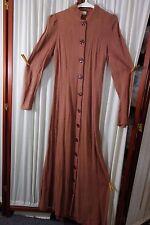 1940's Long Rayon Robe -Luxite Hotsies- S- Brown-Chevrons-WAR YEARS CHIC- SALE