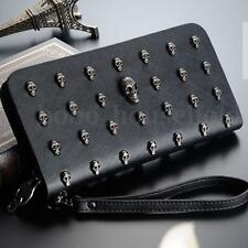 Ladies Skull Smile 3D Studded Leather Style Purse Wallet Bag Handbag Chic Women