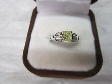 GORGEOUS ESTATE PLATINUM .85 CTW FANCY YELLOW DIAMOND RING 6.4 GRAMS !!!!!!!!!!