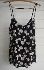 Cotton On Women's Black White Green & Yellow Floral Singlet Top - Size XS
