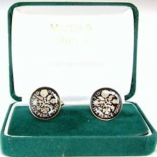 1960 6D cufflinks from real coins in Black & Gold