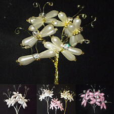 6 x  Pearl Diamante wired Butterflies-Crafts/Cakes/Floral/Magnolia cards