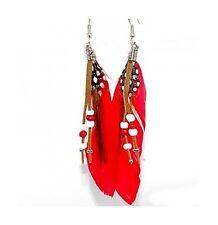 Belle Boucles d'oreilles plumes, cuir, perles, oreille percées, bijoux fantaisie