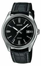 Casio MTP-1302L-1A Men Black Leather Strap Analog Watch MTP1302L