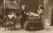 Doll Docter sick doll  cute French photo postcard 1919