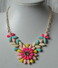 Pink Floral Statement Necklace metal diamante chunky pastel colours blue white