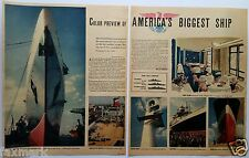 SS United States: Color Preview of America's Biggest Ship--1952 Newspaper Story