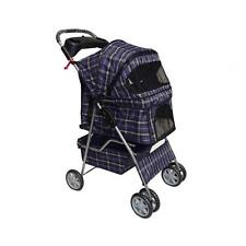 New BestPet Large Blue Plaid 4 Wheels Pet Dog Cat Stroller w/RainCover