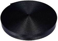 1 Inch 2 Panel Black Lite Weight Nylon Webbing Closeout, 10 Yards