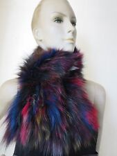Elegant warm Winer  Fashion hand-made knitted real fox fur  scarf/cape colorful