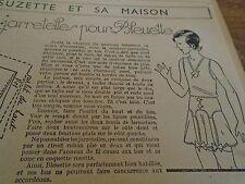 """PATRON ORIGINAL POUR LA POUPEE """" BLEUETTE CEINTURE JARETELLES DECEMBRE 1938"""