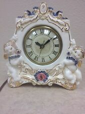 Lovely Vintage Clock By Lanshire. Roses And Cherubs. Dated 1953.