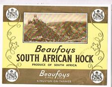 1930s South Africa Beaufoys Hock Liqueur Label Tavern Trove