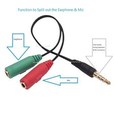 3.5mm Stereo Headphone Microphone Audio Y Splitter Cable Cord Adapter Plug Jack