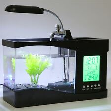 USB Desktop Mini Fish Tank Aquarium LCD Timer Clock LED Lamp Light Black E0
