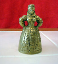 ANTIQUE BRASS ELIZABETHAN LADY COLLECTORS BELL HER LEGS & FEET ARE THE CLAPPER