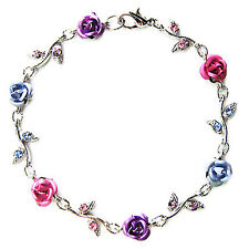 w Swarovski Crystal ~Pink Purple Blue ROSE FLOWER Floral Bridal Wedding Bracelet