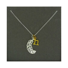 Lily Charmed NEW! Sterling Silver Large Feather & Gold Plated Initial N Necklace