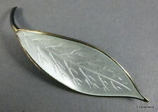 DAVID ANDERSEN Norway - Silver & Enamel LEAF Brooch - 1950s Scandinavian Design