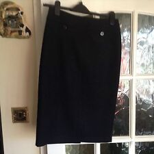 Marks and Spencer Black Wool Pencil Skirt Size 8