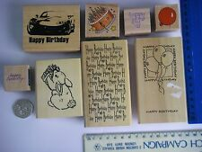 Huge JOBLOT 8 Assorted BIRTHDAY GREETINGS Wooden RUBBER STAMPS  Background EC